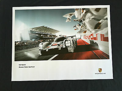 Porsche Official 919 Hybrid Racecar Front View On Track Showroom Poster 2015