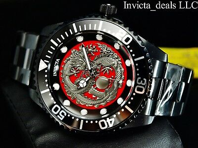 New Invicta Men's 47mm Grand Diver Dragon Automatic Triple Black 100M SS Watch