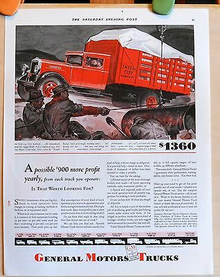 Vintage 1931 ad for GMC Trucks - 2-3 ton red stake truck Model T-26 graphic