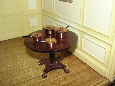 Dollhouse Miniature Group of Copper Color Pans w Covers