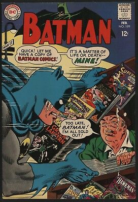 Batman #199 Classic Cover! Feb 1968 Glossy Cents Copy Off With White Pages