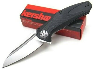 Kershaw Black Natrix Straight Stonewash Assisted Folding Pocket Knife 7007