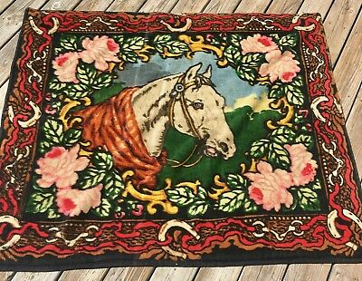 Antique Chase Wool Buggy Horse Lap Carriage Blanket Horses Flowers Glass Eye