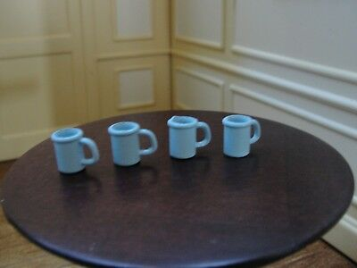 Dollhouse Miniature 4 Blue Mugs