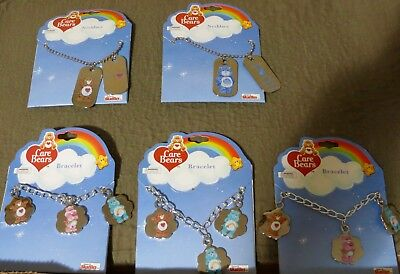 Vintage Care Bears  3 Silver Charm Bracelets and 2 Sets Dog Tags New in Package