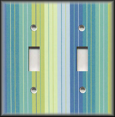 Metal Switch Plate Covers - Blue Teal And Lime Green Stripes Decor Wallplates