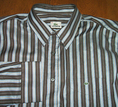 """Lacoste 44 Mens  Brown Blue White Stripe Shirt Collar 17.5-18""""  Worn Once"""