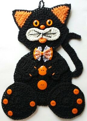Crocheted Cat / Kitten Potholder Decoration with Bow Made With Cotton Yarns