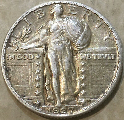 1927  25¢ US Standing Liberty Quarter Dollar Silver Coin