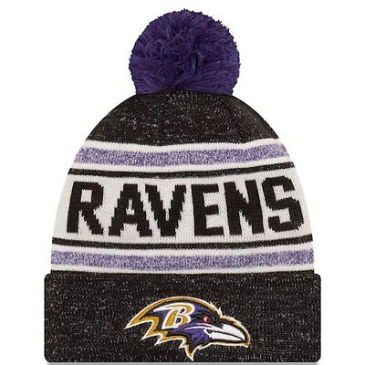 2e58a1aea4451 New Era Baltimore Ravens Black Toasty Cover Cuffed Knit Hat with Pom
