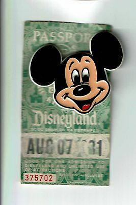 1981 DISNEYLAND MAGIC KINGDOM 1-day ticket pass w/ plastic Mickey Mouse pin
