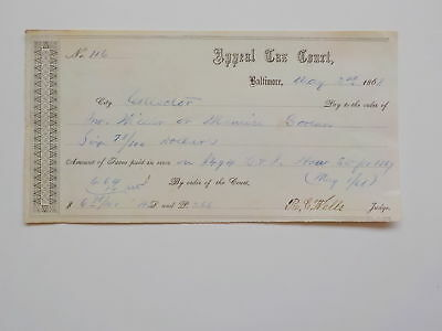 Antique Check 1868 Appeal Tax Court Baltimore Maryland Paper Money Currency VTG