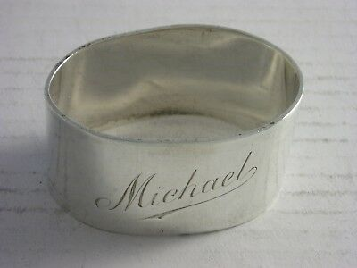 Superb 1951 London Silver Napkin Ring 45 grams good condition Engraved MICHAEL