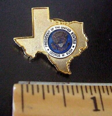 President GEORGE W. BUSH State Of Texas Seal Gold Tone Metal Lapel Pin