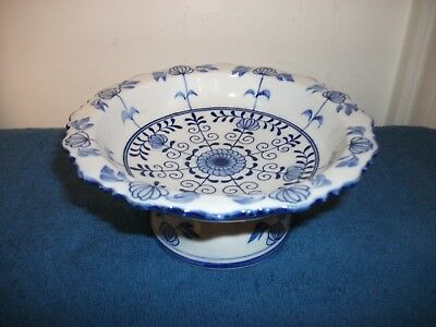 Andrea By Sadek Footed Pedestal Bowl Dish Blue & White Tidbit Candy Server Decor
