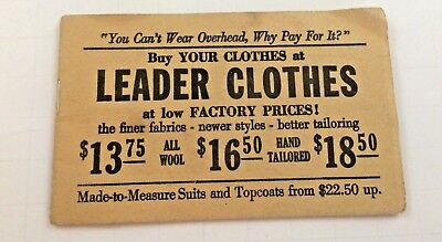 Vtg. Leader Clothes Advertising Buy Your Clothes 215 Washington St Binghamton