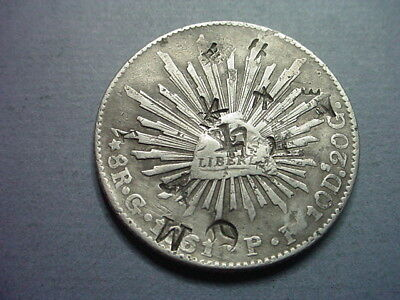 Mexico 8 Reales 1960 GoPF Chopmarks Including a Big M #62407