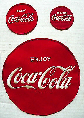"(LOT OF 3) 1970's ""ENJOY COCA-COLA"" DRIVER ROUND PATCHES(SIZES-7"", 3"" & 2-1/4"")"