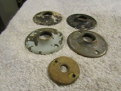 "Antique Victorian 1.25"" 2.25"" Brass Round Door Knob Back Cover Plate Set 5 1800s"