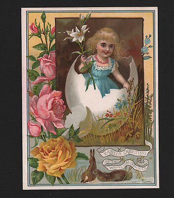 OPC Large Vintage Trade Card Easter Greetings Woolson Spice Co