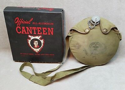 Vintage 1940's Official Boy Scout Canteen in original box.