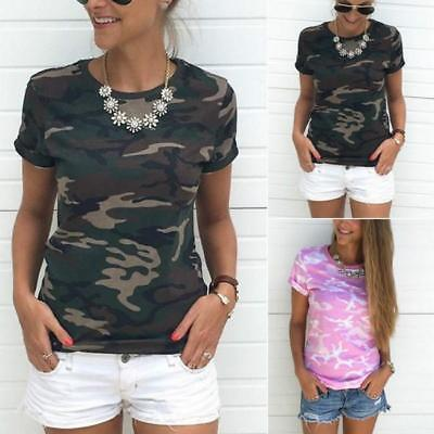 Women's Camo Camouflage Print Short Sleeve Tops Tee Casual Loose T-Shirt Blouse