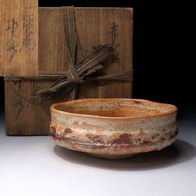 GK6: Vintage Japanese Tea bowl, Shino ware with Signed wooden box