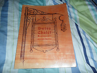 Vintage Swiss Chalet Restaurant Colorado Springs Menu VERY RARE  HTF