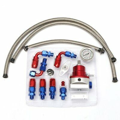 Universal Adjustable Fuel Pressure Regulator 0-160 Psi Gauge + Hose Fitting Kit