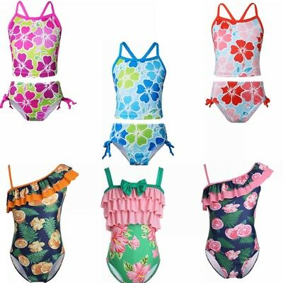 Toddler Kids Girls Floral Printed Swimsuit Swimwear One-Piece Swimming Costume