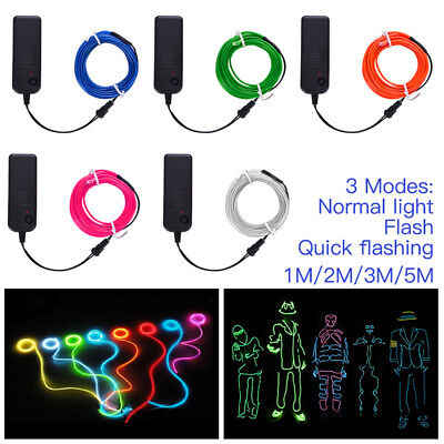 3M 5M Battery Operated Luminescent Neon LED Lights Glow EL Wire Party Strip Rope