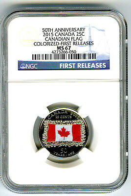 2015 Canada 25 Cent 50Th Anniversary Color Flag Ngc Ms67 First Releases Blue