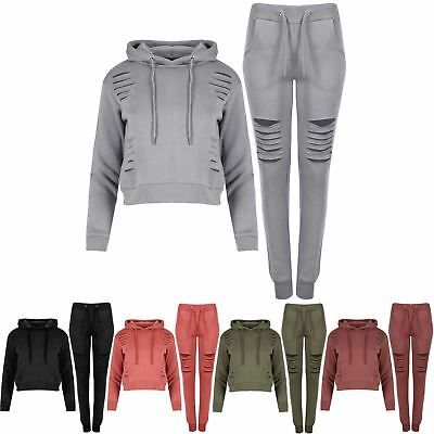 Women Girls Cuffed Long Sleeve Laser Knee CutOut Jogger Cropped Hoody Tracksuit