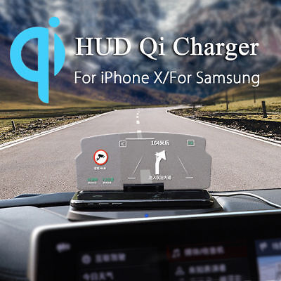 Qi Wireless Charger Car Auto HUD Head Up Navigation Display Holder Charging Dock