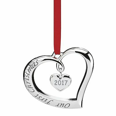 2017 Lenox Our 1st Christmas Heart Silver Christmas Tree Ornament 870940 New