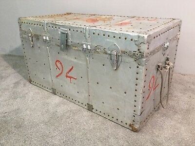 Vintage Large Blanket Toy Box Tack Chest Steamer Cabin Travel Trunk Suitcase
