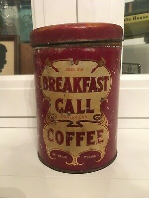 Vintage Breakfast Call Coffee 1lb Pantry Can Advertising Tin - Soda