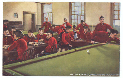 POOL BILLIARDS Queen's Royal Surrey MILITARY LIFE ca1908 Tuck & CHESS Game
