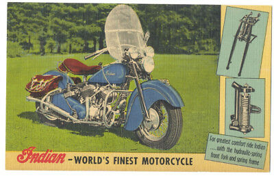 INDIAN World's Finest MOTORCYCLE - GREAT ca1940 Linen Ad Postcard