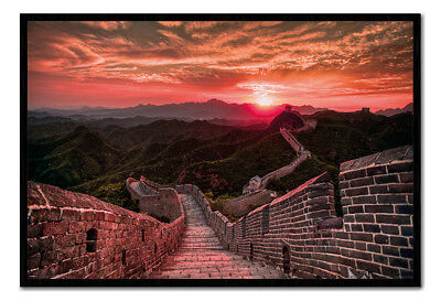 The Great Wall Of China Sunset Poster Framed Cork Pin Board With Pins