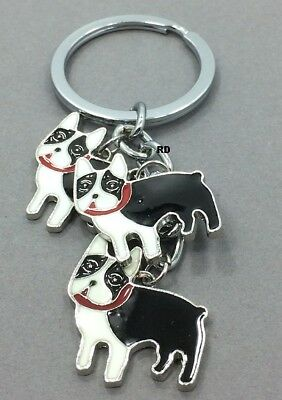 Boston Terrier Lovers Key Chain or Purse Charm 3 Dogs