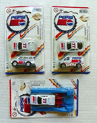 "(LOT of 3) 1997 GOLDEN WHEEL ""PEPSI"" DIE-CAST METAL VEHICLES & LAUNCHER"