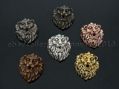 10//30Pcs Tibetan Silver Lion HEAD Charm Spacer Beads Jewelry Findings DH78