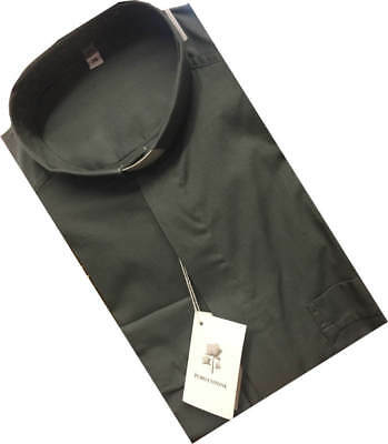 Mid Grey - Clergy Tunnel Collar Slip In Long Sleeved Shirt Luxury Cotton Rrp £29