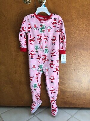 Carters Nwt 24 Months Santa Pink Tree Christmas Footed Fleece Pajama Girls With The Best Service Girls' Clothing (newborn-5t)
