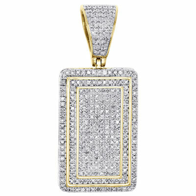 """10K Yellow Gold Diamond Square Tier Dog Tag Pendant 1.35"""" 3D Side Pave Charm 1CT"""