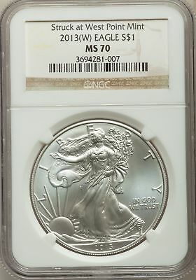 2013-W $1 Silver Eagle, Struck at West Point Mint, NGC MS 70