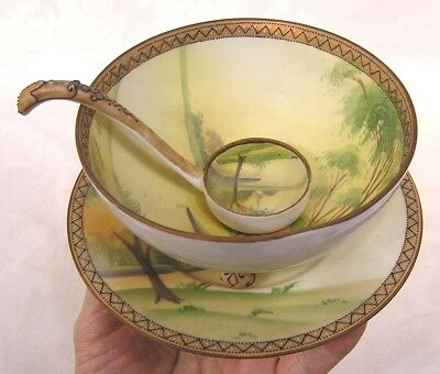 Vintage Hand Painted Nippon Mayonnaise Set Bowl Plate Ladle Country Scene