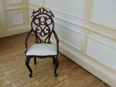 Dollhouse Miniature Mahogany Carved Arm Chair    Bespaq