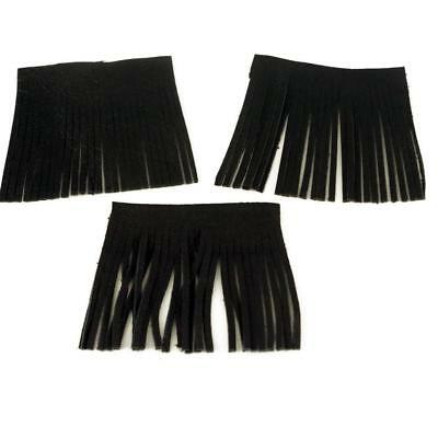 Fringed Real Black  Leather Jewelry Making Leather Craft biker jacket Sewing x 3